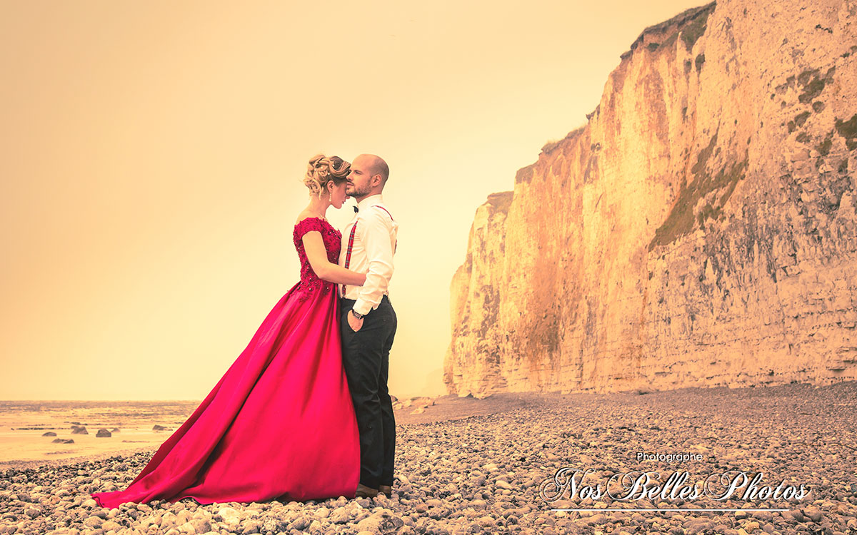 Shooting photo couple mariage Cabourg Normandie